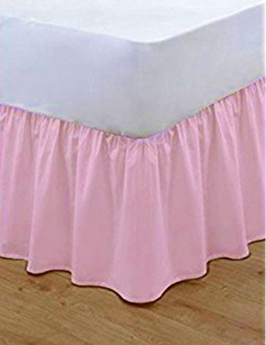 Bluemoon Bedding® Poly Cotton Plain Dyed Frilled Base Valance Sheets (Pink, Single)