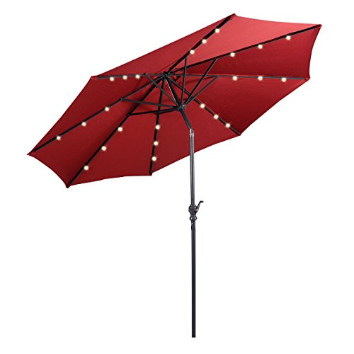 Giantex 10ft Patio Solar Umbrella LED Patio Market Steel Tilt w/Crank Outdoor (Burgundy)