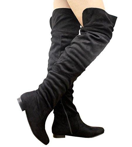 Uk Longue Zippes Haute Au Femmes Noir Suede Nu Nouvelles Cuissard Genou Tailles Hiver 8 Knee 3 Bottes wqAn7C