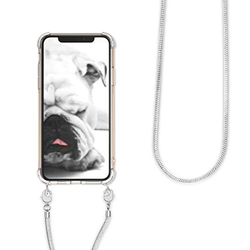 kwmobile Crossbody Case Compatible with Apple iPhone 11 Pro Max - Clear Transparent TPU Phone Cover Holder with Metal Chain Strap - Transparent/Silver