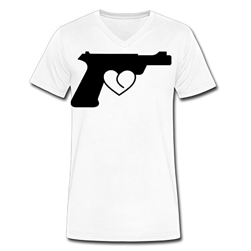 Love Gun V Neck 100 Cotton T Shirt For Men's