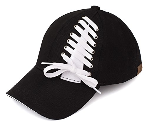 H-6715-06 Funky Junque Lace Up Baseball Cap - Black