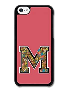 MMZ DIY PHONE CASELetter M Customized Name See Through Cool Hipster Style Flowers Background case for ipod touch 5