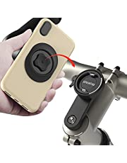 Bike Phone Mount for Mountain Bicycle, Universal Aluminum Road Bike Stem Cap Cell Phone Holder, (Connect Quickly) System Riding Clip Stand, MTB Handlebar Holder for iPhone Samsung Google (Black)