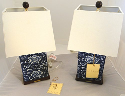 Blue And White Porcelain Table Lamps (Pair of two (2) Ralph Lauren Mandarin Floral Blue & White Traditional Porcelain Table Lamps)