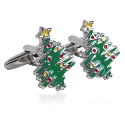 Christmas Tree Cufflinks - Christmas Trees Oil Drip Cufflinks Gift Boxed By Digabi