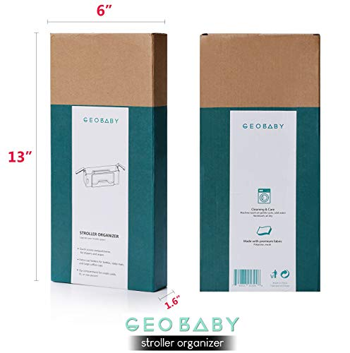 GeoBaby Modern and Universal Extra Storage Stroller Organizer With Cup Holders, Diaper Compartments, Wipes Dispenser, Phone Pockets, Baby Shower Idea by GeoBaby (Image #7)
