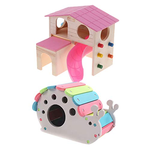 DYNWAVE Set of 2, Colorful Wood Pet Nest Bed Castle House Hamster Squirrel Rabbit Climb Chew Toy (Castle Hamster)