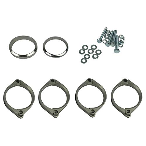 OmkuwlQ Stainless Steel Exhaust Flange Muffler Back Box Repair Rusted Flange Clamp Kit Replacement for BMW E46 M3 Z4M