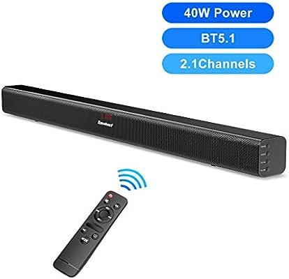 Barra de Sonido Envolvente EXCELVAN S18L 40W Barra de Sonido para TV BT 5.0 Laptop Entrada USB 3 Modos de Ecualización Fácil Instalación de Control Remoto: Amazon.es: Electrónica