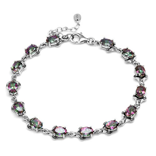 - 12.46ct Mystic Fire Topaz White Gold Plated 925 Sterling Silver 7.75-8-9.25 Inch Adjustable Bracelet