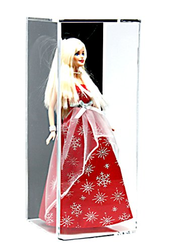 Deluxe Acrylic Figurine Display Case with UV Protection for Doll, Bobblehead, Action Figure, or Collectible Toy Figure with Black Back and Wall Mount (A017-BB-WM)