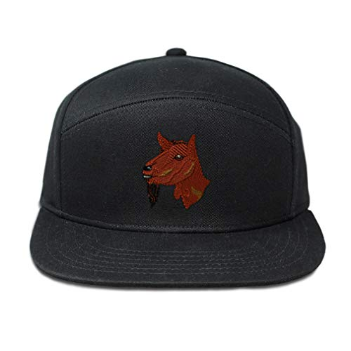 Snapback Hats for Men & Women Oberhasli Goat Embroidery Cotton Flat Bill Hybrid Baseball Cap Snapback Black Design Only