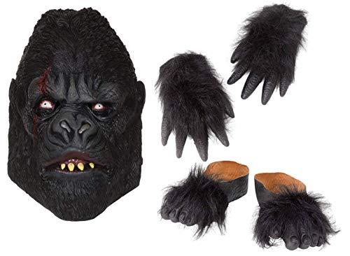 Party Central Zombie Gorilla Halloween Fancy Dress Costume Mask Hands Feet -