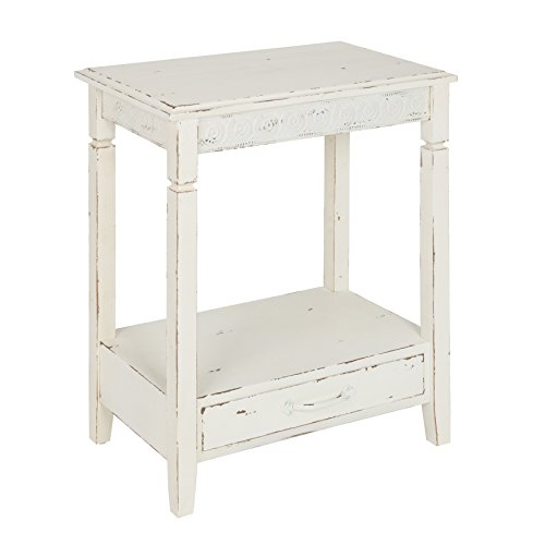 Kate and Laurel Idabelle Wood Side Table, Farmhouse White