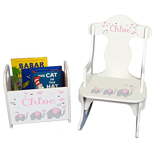 Personalized Pink Elephant Book Caddy and Puzzle Rocker Set - Personalized Infant Rocker