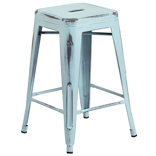 Flash Furniture 24'' High Backless Distressed Green-Blue Metal Indoor-Outdoor Counter Height (Kitchen Metal Bar Stool)