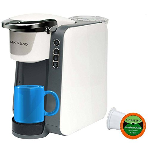 MIXPRESSO K-Cup Compatible 6+ Cup Single Serve Programmable Coffee Maker for 6, 8, 10 oz. Pods QuickBrew Technology 30 Second Ready (White)