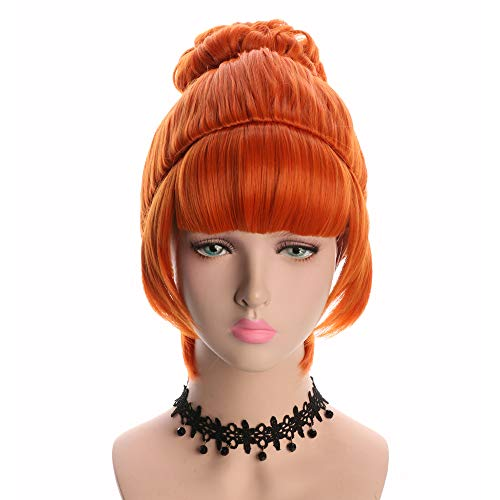 Yuehong Cosplay Wig Orange Bun Curly Synthetic Halloween Hair -