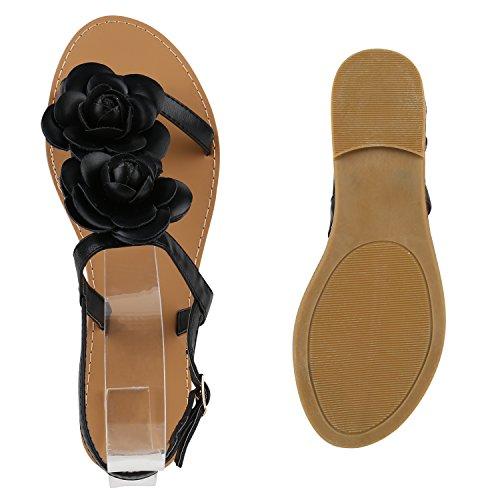 Stiefelparadies Damen Dianetten Blumen Sandalen Zehentrenner Sommer Schuhe Flats Beach Zierperlen Flandell Schwarz Blumen Schnalle