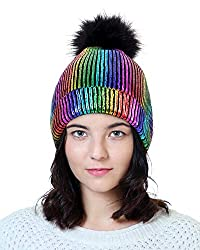 Rainbow-A Sequin Beanie Hat with Faux Fur