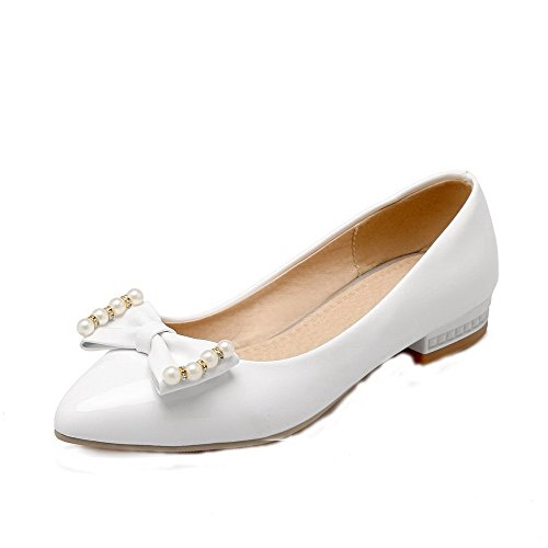 Heels PU White Solid Toe Pumps Pointed Shoes Women's Low WeiPoot Closed Pull On qBAwx708