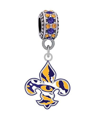 LSU Louisiana State University Fleur-De-Lis Charm Fits European Style Large Hole Bead Bracelets Personality, Reflections, Silverado and More (Charm Silverado Bead)