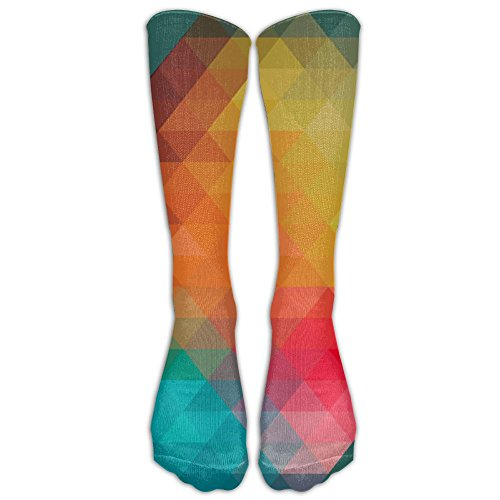 Unisex Mosaic Diamond Square Over Knee High Socks Graduated Compression 20-30mmHg Best For Running Athletic Sports Crossfit Flight Travel Fashion Gift One Size (Park Tavern Halloween)