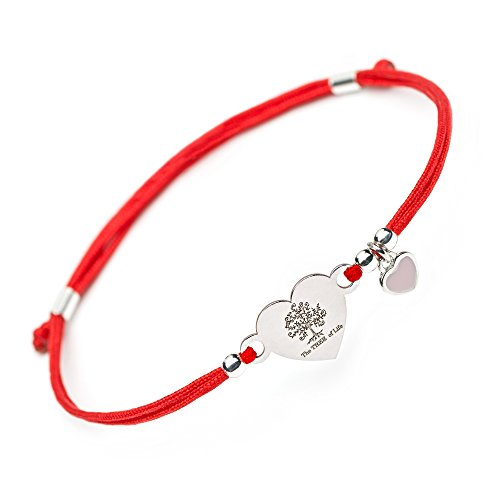 Family Tree of Life Expandable Bracelet - Silver Heart Shape Jewelry Charm with Love Heart Pendant Red String Evil Eye Protection Bracelet Mom Daughter Women Wife Sister Mother Day Valentines Gift