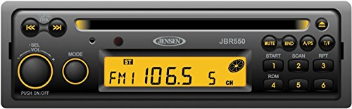 Jensen JBR550 Heavy Duty AM/FM/CD Stereo, 12 Volt DC, 160 Watts (4x40W) Output Power, Single Disc CD/CDR/CDRW Playback, USA AM/FM Tuner with 30 Station Presets (12 AM / 18 FM), PA Microphone Input