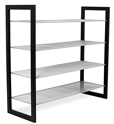 Internet's Best Mesh Shoe Rack - 4-Tier - Free Standing Metal Wood Shoe Organizer - Closet and Entryway - Fits 16 Pairs of Shoes - Black & Silver