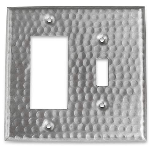 Monarch Abode 18011 Monarch Hammered Rocker Single Toggle Wall Plate, Satin Nickel