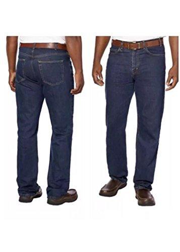 Kirkland Signature Men's Relaxed Comfort Fit Cotton Jeans, Dark Denim, 34x34