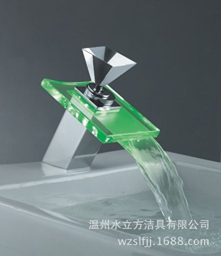 - YSRBath Modern Bathroom Sink Faucet Antique Square Glass Cool Color Waterfall Diamond-Shaped Temperature Square Glass Kitchen Bathroom Basin Mixer Tap Basin Faucet