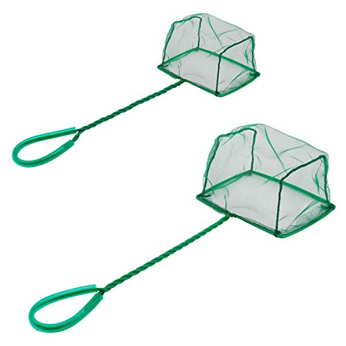 Pawfly Aquarium Fish Net Set Fish Catch Nets with Plastic Handle, 6-Inch and 4-Inch Pack ()