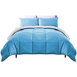 Luxe Bedding 3-PCS Reversible Down Alternative Quilted Duvet / Comforter Set - All Season Hotel Quality (Full/Queen, Blue / Gray)