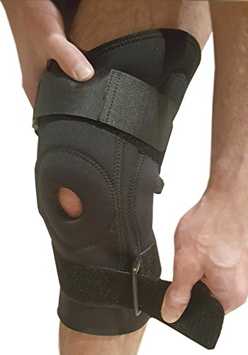 Knee Brace Adjustable Knee Support - Hinged Knee Stabilizer Brace for Running, ACL or Meniscus Tear. Patella or Knee Joint Tendinitis Pain Relief with Knee Compression Sleeve Fits Left & Right Knees ()