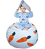 EDCMaker Stuffed Animal Bean Bag - Toy Organizer & Comfy Chair, Best Creative Option Storage Solution for Plush Toys, Blankets, Towels & Clothes, Cartoon Carrot - 38'