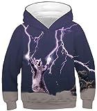 Sucor Boys Girls 3D Galaxy Hoodies Kids Outwear Cool Pullover Sweatshirt Jacket(L,Lightning Cat)