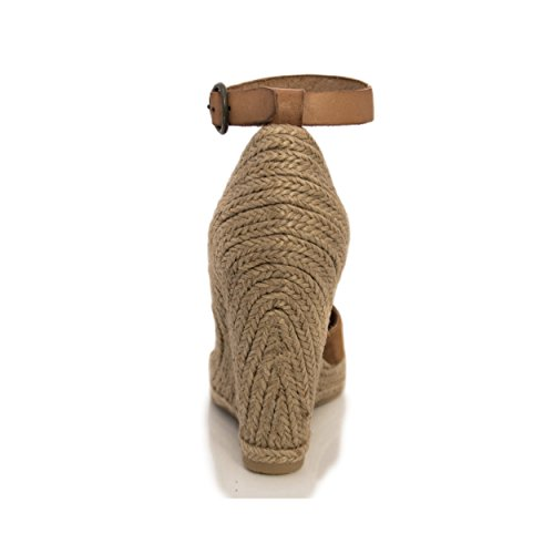 MTBALI Sandalen mit Keilabsatz Alpargata Damen - Modell Altea Braun