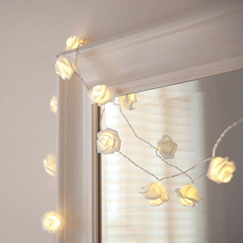 NYKKOLA 20 LED Battery Operated String Flower Rose Fairy Light Wedding Room Garden Christmass Decor (Warm White)