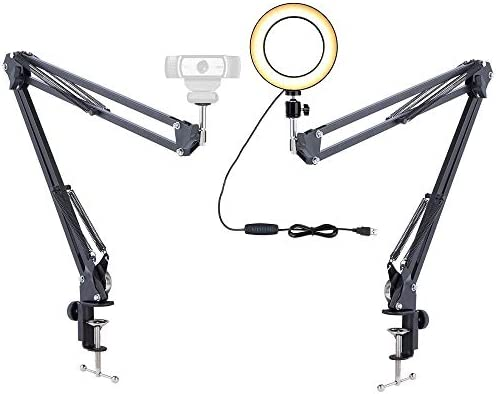 Webcam Light Stand, 6 Ring Light with 2 Suspension Arm Mount for Logitech Webcam C920 C930e C922x C925e Brio Recording Craft,Calligraphy,Drawing,Online Lesson,YouTube Videos