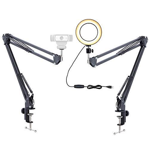 ایستاده چراغ وب کم ، 6 '' حلقه نور با 2 بازوی تعلیق برای Logitech وب کم C920 C930e C922x C925e Brio ضبط بروی ، خوشنویسی ، طراحی ، درس آنلاین ، فیلم های YouTube