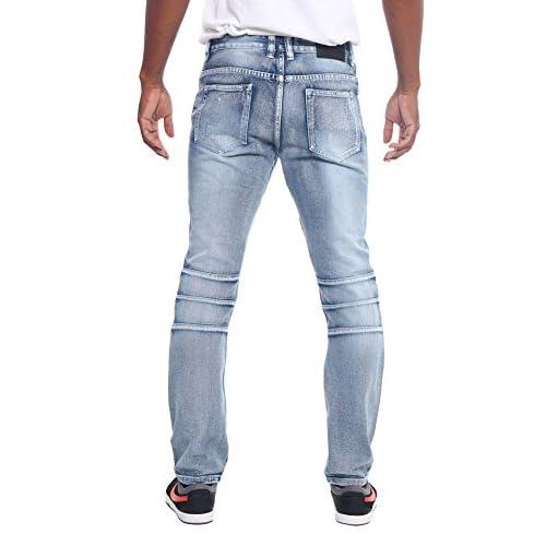 XTX Men Straight Leg No-Belt Slim Fit Moto Biker Ripped Holes Jeans Denim Pants