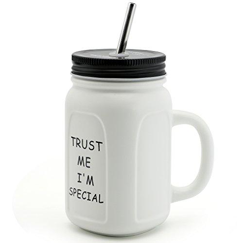 Asmwo Cute Mason Jar Mug Square Iced Coffee Tea Mug Inspirational Quote Ceramic Mug with Handle Tin Lid Stainless Steel Straw Gift Mug for Women Men 14 Ounce White-C (Cute Straw)