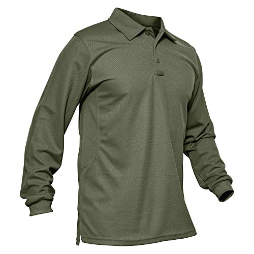 MAGCOMSEN Mens Golf Polo Shirt Long Sleeve Performance Quick Dry Golf Solid Polo Active Shirt Green