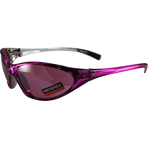 Global Vision Lisa Motorcycle Sunglasses Pink Crystal Color Frames with Matching Color Flash Mirror Lens