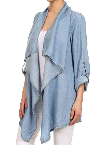 - Futurino Women's Roll Tab Long Sleeve Drape Open Front Denim Cardigan Coat