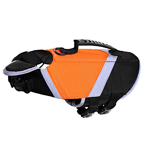 SAWMONG Dog Life Jacket, Pet Swim Vest, Dogs Life Preserver, Floatation Coat with Reflective Stripe Bulldog Terrier Corgis Saver in Orange Green for Small Medium Large Dogs Swimming Boating Hunting
