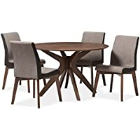 Baxton Studio Kimberly 5 Piece Round Dining Set in Gravel and Walnut